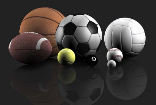 sports balls over a grey background